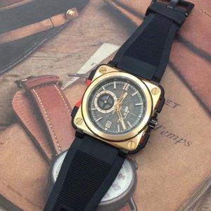 High Band Sport Sport Skeleon Skelleon Vintage Br Quartz Cronograph Heritage Aviación Camuflaje Cuero marrón Mens Diver X1 Wristwatch Bxah
