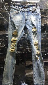 Erkek Jeans Stil Moda Düz Siyah Dökümlülük Biker Mavi Jeans Lüks Pantolon Sıkıntılı Moda Pantolon Üst Kalite ABD Boyutu 29-40