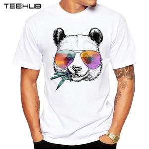 Herrenmode Cooler Panda mit Sonnenbrillen Printed T-Shirt Kurzarm-Neuheit-Entwurf T Tops Kühle