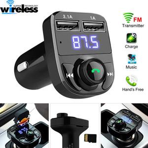 Kit FM Transmisor Aux modulador Bluetooth manos libres para coche coches reproductor de MP3 de audio con cargador de coche 3.1A de carga rápida con doble puerto USB
