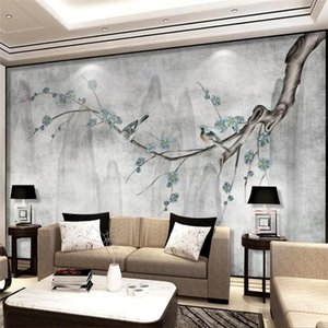 Drop Shipping Custom Wallpaper Chinese Style Hand-painted Blue Plum Bird Background Wall Painting Living Room Bedroom Wallpaper