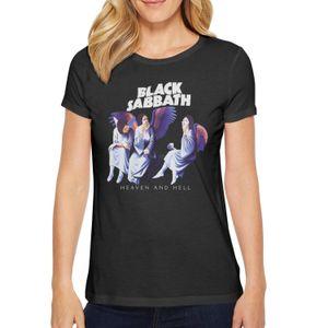 Fashion Womens Ozzy Osbourne Black Sabbath Heaven And Hell black Round neck t shirt Cool Sport shirts Mask Cross Bark At The Moon Art