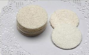 300 unids 5.5 cm Roud Natural Loofah Pad Maquillaje de la cara Eliminar exfoliante y piel muerta baño ducha Loofah