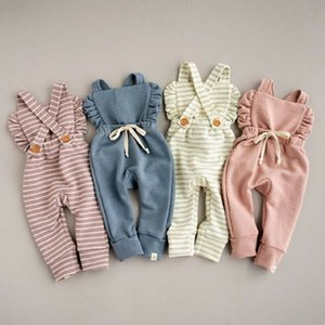 Backless Gestreifte Rüschen Body Overalls Overall NewBorn Baby-Kleidung Baby-Spielanzug Kinder Fest Knopf Straps Overall FFA3753