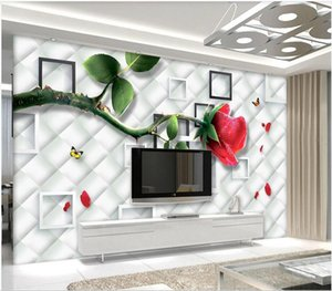3d wallpaper Wall stickers custom photo mural 3D red rose flower soft pack modern TV background wall homedecor wall art pictures
