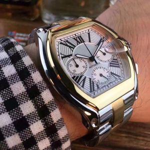 2019 Мужская мода Мужские часы из нержавеющей стали Аналоговые кварцевые часы Дата Многофункциональные наручные часы Мужчины Все Маленькие циферблаты рабочие часы Подарок