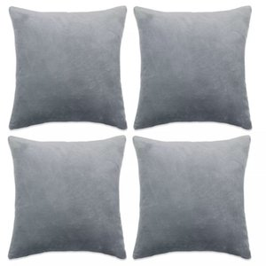 Cushion covers 4 pcs in Velor 40x40 cm Gray Other Home Textile