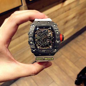 Nuova versione di aggiornamento V2 RM 35-02 RAFAEL NADAL NTPT fibra di carbonio intero Caso Giappone NH automatico RM35-02 Mens Watch Rubber Band Designer Watche