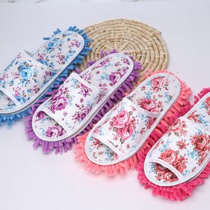 Floral Femmes Chaussures de lingettes en tissu Magic Clean Chenille Mops de nettoyage du sol Outils avec 4 couleurs Lavable Soles LQPYW939
