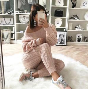 Großhandels-Frauen Zwei Stück Outfits Pullover Winter-Tops Langarm-Sweatshirt dünne feste Strickpullover Sweter Set
