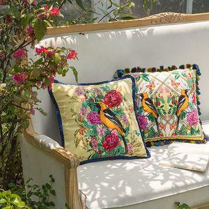 Funda de cojín DUNXDECO Funda de almohada decorativa Artística British Antique Forest Luxury Velvet Sofa Silla Ropa de cama Coussin