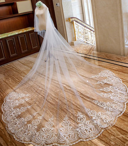 Cheap Hot Sale Wedding Veils 3M Long Cathedral Length Two Layers Lace Edge Tulle Bridal Veil For Women Hair Accessories