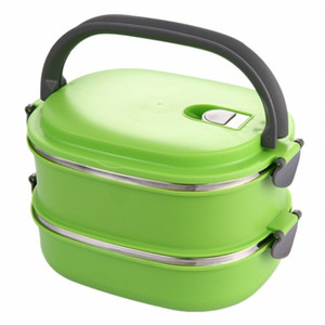 HHO-Insulated Lunch Box em aço inoxidável Food Storage Container Thermo servidor Essentials térmica Double Layer Verde