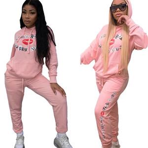 Для женщин дизайнера Tracksuit два куска набора одежды длинных рукавов балахона лосины падать беговые спортивные костюмы Спортивной одежды сексуальный очень горячий klw2447