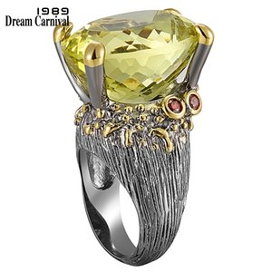 Dreamcarnival 1989 Highly Recommend Hot Sell Big Ring For Women Genuine Cut Olivine Oval Zircon Must Have Party Jewelry Wa11616 Y19062004