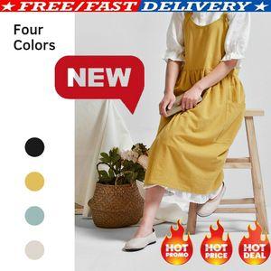 2019 New Women Cotton Linen Bib Avental Sem Mangas Pinafore Home Cooking Florista Vestido