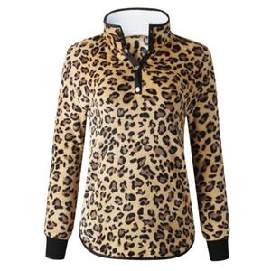 Imprimé léopard Sweat-shirts Pull Grossiste automne du détaillant pour femmes et boutons Leopard d'hiver sexy Pocket manches longues