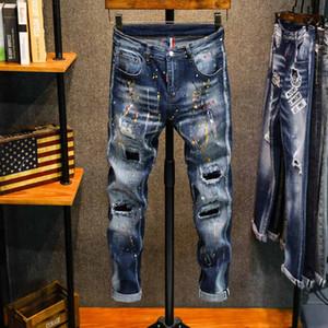 Новые мужские джинсы Robin Мотоцикл байкерские джинсы Rock возрождение тощий Тонкий Ripped отверстие Mens известная марка Джинсовые брюки Мужские дизайнерские джинсы D05