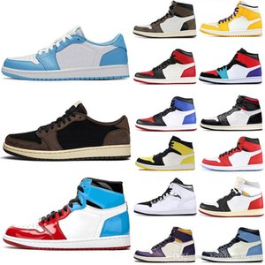 Top Fashion sans Peur Obsidian Travis Scotts OG GYMNASE ROUGE 1 chaussures de basket-ball Spiderman First Class Flight top 3 UNC entraîneurs des hommes Sneakers