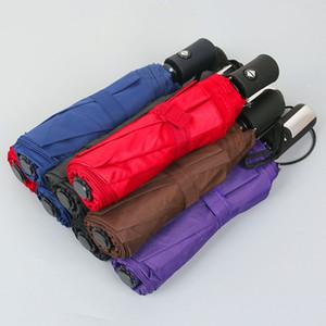 المحمولة 8 كيلو مظلات uv حماية يندبروف مظلة ثلاثة للطي التلقائي بالكامل 10 كيلو كبيرة بلون المظلات مشمس ممطر DH1392
