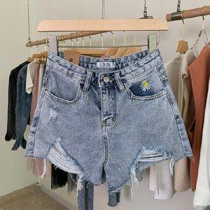 Solid Color Shorts Famale Designer-beiläufige Hosen der Frauen Gänseblümchen gestickte Loch-Kurzschlüsse Sommer Sexy Slim Fit