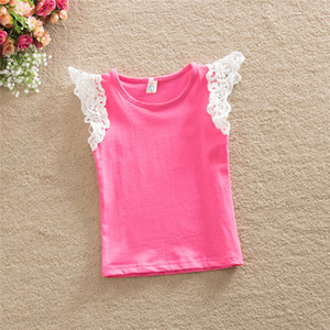 0-4 Years Baby Girls T-Shirt 2020 Summer Solid Tees Baby Girls T-Shirt Tops Kid Gray Lace Flare Sleeve T-Shirt For Girls Clothes