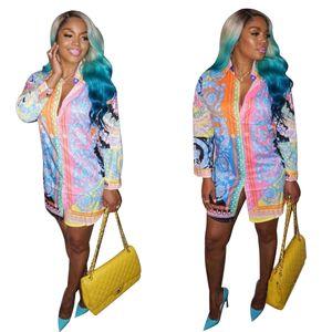 2019 più nuovo elegante motivo floreale stampa moda donna camicia abiti maniche lunghe risvolto collo Smart Casual Dress per Club foto reali