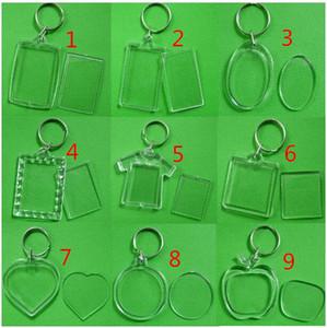 DIY em branco Acrílico Foto Chaveiros Shaped Chains Limpar tecla Insert Foto plástico Keyrings Photo Frame frete grátis