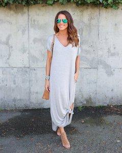 Womens Longo Moda solto Maxi vestidos de verão Sólido Piso Cor Comprimento = Casual Vestidos Womens alta qualidade roupas