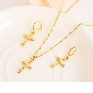 Bright 18 k fine solid gold GF small cross Pendant chain Earrings sets Christian Best Jesus bridal Gifts handsome Young