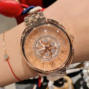 DACR moda lusso stravagante diamante della vigilanza femminile di cristallo Quicksand Fiori Spin Ladies Watch Quartz Watch