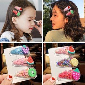 renkli kişiselleştirilmiş bataklık şeffaf kız meyve saç tokası bebek Pullu BB klip yaz çocuk headdress