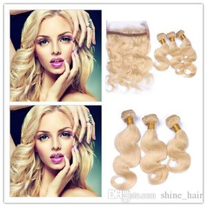 # 613 360 Blonde Band Lace Frontal Avec fermeture 3Bundles Body Bleach vague Blonde péruviennes Homme Trames de cheveux avec 360 Band Lace Frontal
