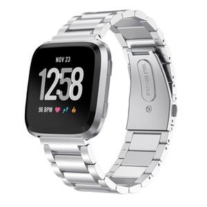 Edelstahl Massiv Link-Bügel-Armband für Fitbit Versa 2 / Versa Lite Smart Watch Metallbänder Handgelenk Gürtel