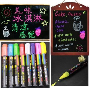 Atacado-8pcs Luminous Color Highlighter Fluorescent Liquid Chalk Marker Neon Pen Led Wordpad 6mm