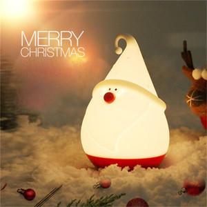 Nouvelle création Père Noël conduit nuit lumières chambre silicone de chargement USB cadeaux lampe lait tapoté lampe de table pour les enfants