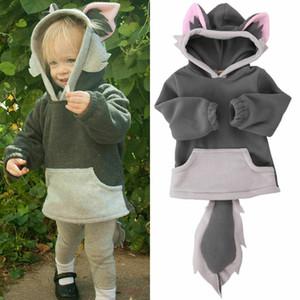 귀 후드 코트 자켓 의상 2020 새로운 아이 폴라 플리스 동물 만화 까마귀 패션 참신