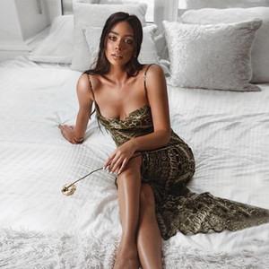 Günlük Leopar Kolsuz Modelleri Kadın Giyim Kadın Tasarımcı şifon Maxi Elbiseler Seksi Bölünmüş Backless Boyun Elbise Slash