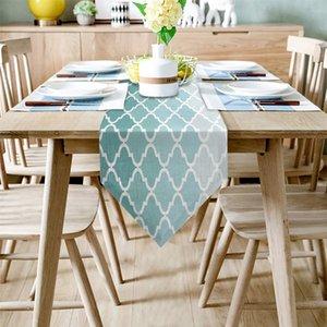 Fiesta de la boda para los corredores geométrico azul turquesa verde degradado tabla moderna de Chirstmas de la torta Runner mantel de la decoración del hogar Y200421
