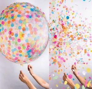 düğün dekorasyon OPP paket lateks balon için balon kağıt dolgu 36 inç Konfeti hava Top yuvarlaktır hurda
