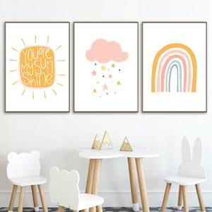 Nuage Étoile Poster Prints Nursery Wall Art Sunshine Kids Poster arc-en-toile Peinture décoration nordique Image Chambre bébé Décor