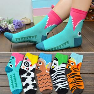 Recién Mujer Hombre Chicas niños de algodón animal de la historieta de la novedad de la impresión caliente Casual Calcetines Medio corto calcetines con cinco Estilo