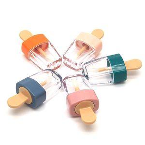 6 ml Ice Cream forma transparente tube Mini Lip Gloss Esvaziar Lip Balm contêiner com tampa de borracha Inserções Batom 20pcs amostras Garrafa