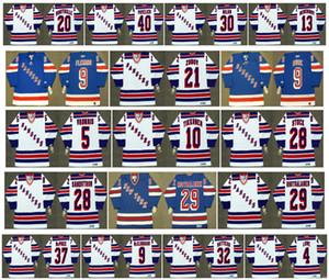 Vintage New York Rangers Jerseys 30 CHRIS NILAN 29 Reijo Ruotsalainen 20 LUC ROBITAILLE 40 Mark Pavelich 13 Sergei Nemchinov Retro Hockey