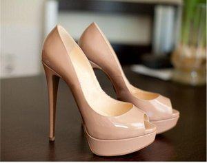 2018 New Fashion Women Pumps Sexy Peep Toe Thin High Heels Shoes Woman Pumps Plus Size 35-44 with high 8cm 10cm 12cm red bottom shoes