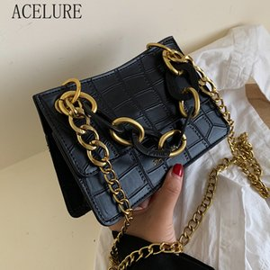 ACELURE Stone Pattern PU Leather Crossbody Bags for Women Retro Metal Chain Messenger Shoulder Bag Lady Fashion Quality Handbags