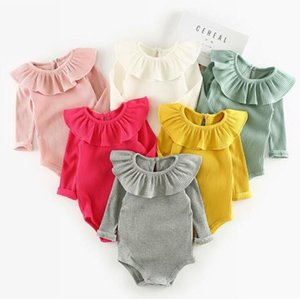 Baby Clothes Kids Girls Lotus Leaf Collar Rompers Infant Long Sleeve Article Pit Triangle Jumpsuits Newborn Warm Cotton Onesies CYP705