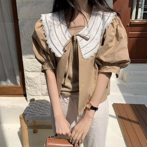 Lace Patchwork Blouse Women Korean Chic Short Puff Sleeve Ladies Blusa Shirts Spring 2020 Fashion Casual Female Top