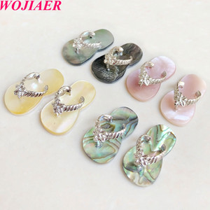 WOJIAER Natural Seashell Small Size Slipper Pendants Pink White Abalone Shell Pendant for DIY Earrings Jewelry Making DBV930