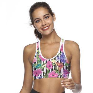 2019 Digital Printed Yoga Sports Bra Women's High Strength Shock-proof Ring-free Fitness Underwear gym cotton vestvest
